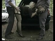 Dogging mature threesome in the woods