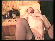 Alina in sauna enjoying three-way sex with her spouse and his friend
