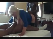 Busty mature slut got destroyed by black bulls in a cuckold threesome