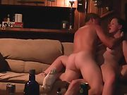 Wife dual penetration ejaculation on couch