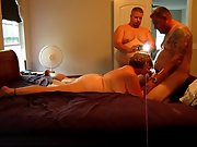 Spectacular hot wife and husband in a 3 sum with her fellow