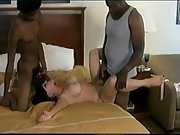 Interracial horny wifey and two blacks busty milf three-way bang-out
