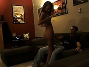 Wife dances naked for hubby and acquaintance and then has fuck-a-thon with both of them